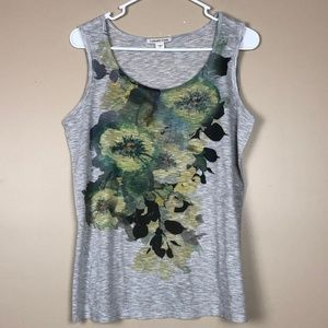 COLDWATER CREEK FLORAL SCREEN PRINT TANK